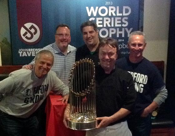 Red Sox World Series trophy at John Brewer's Tavern